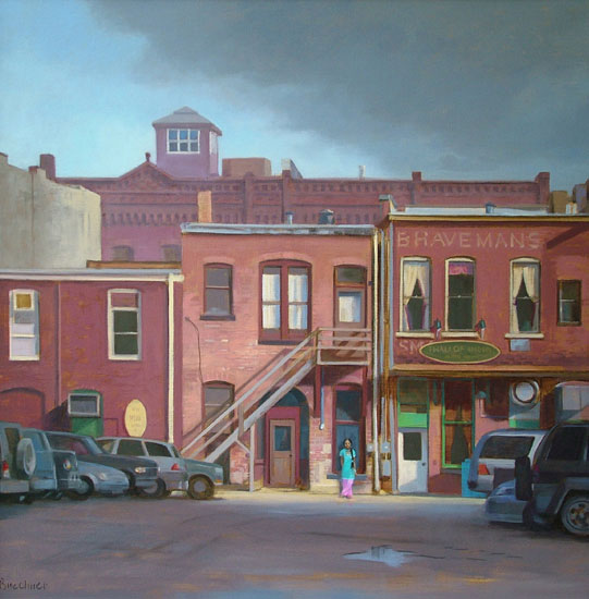 "Thomas S. Buechner ""Aman in the Alley"" 30x30 oil $6,600."