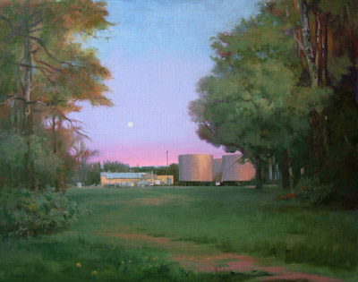 "Thomas S. Buechner ""Factory in the Woods/Big Flats Tanks"" 24x30 unframed oil $5,720."