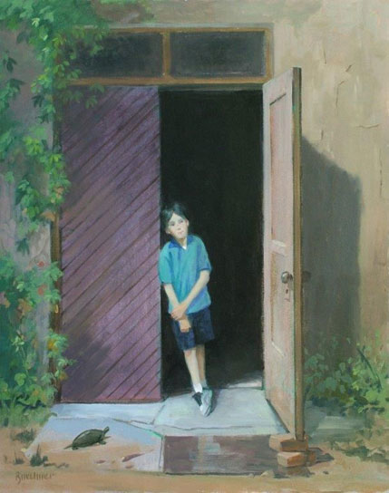 "Thomas S. Buechner ""Boy in Doorway II"" 16x 20 oil framed $3,300."
