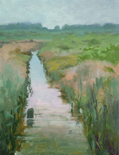 "Thomas S. Buechner ""Newport Canal"" 14x11 unframed oil $2,420."