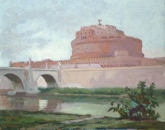 """Thomas S. Buechner """"Castel Sant'Angelo I"""" 11x14 oil $2,570."""
