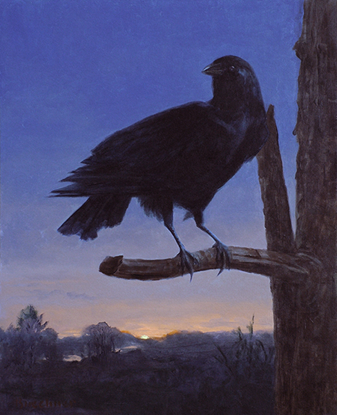 "Thomas Buechner ""Crow at Dawn"" 20x16 oil $3,390. SOLD"