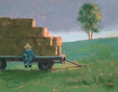 "Thomas S. Buechner ""Day's End"" 8x10 oil $1970."