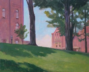 "Thomas S. Buechner ""Elmira Campus, Cowles Hall"" 8x10 oil $1,970."