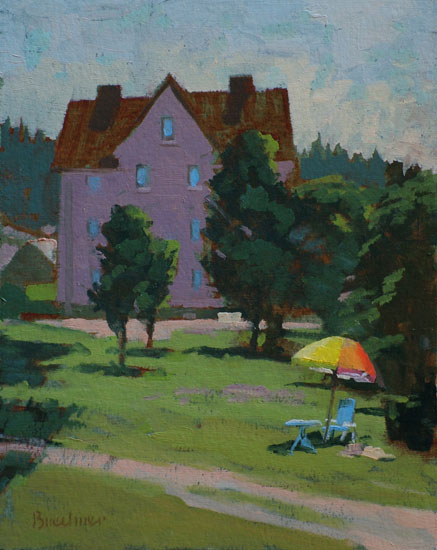 "Thomas S. Buechner ""Emig's Umbrella, Germany"" 10x8 oil $1,970."