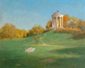"Thomas S. Buechner ""English Garden, Munich"" 16x20 oil $3,390 framed"
