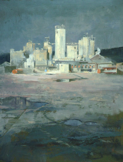 "Thomas S. Buechner ""Fallbrook Moonlit Factory"" 20x16 unframed oil $3,190."