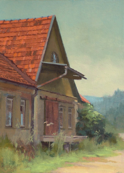"Thomas S. Buechner ""Loading Dock"" 14x10 oil $2,500. SOLD"