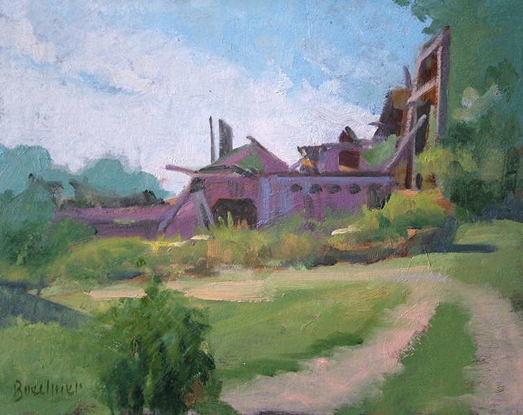 "Thomas S. Buechner ""Mintz Barn Remnants"" 8x10 oil $1,970. framed"