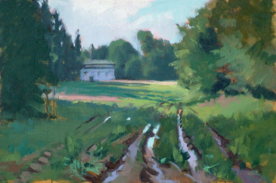 "Thomas S. Buechner ""Poshinger's Chapel #2"" 8x12 oil $2,310."