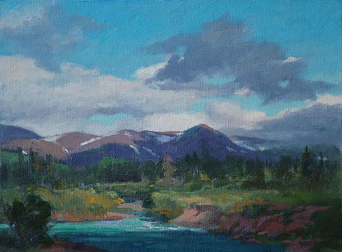 "Thomas Buechner ""River in the Rockies"" 11x14 oil $2,570."