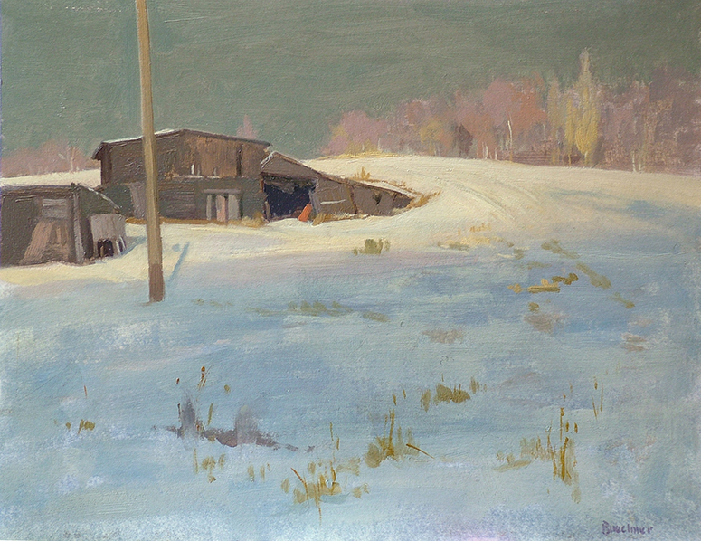 "Thomas S. Buechner ""Sheds in Snow"" 11x14 oil $2,570. SOLD"