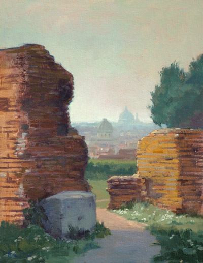 "Thomas S. Buechner ""St. Peters from the Palace of Flavis"" 14x11 oil $2,520."
