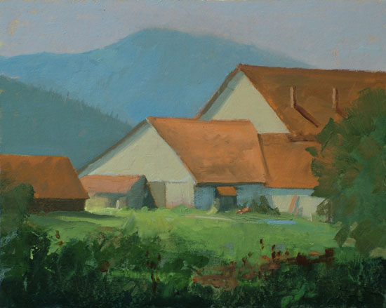 "Thomas S. Buechner ""Stuhlfabrik - Frauenau, Germany"" 8x10 oil $1,970."