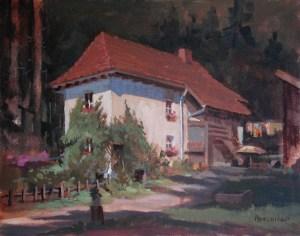 """Thomas S. Buechner """"Toby's House"""" 11x14 unframed oil $2,420."""