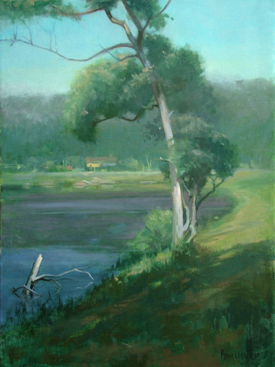 "Thomas S. Buechner ""Tree"" 24x18 oil $3,800."