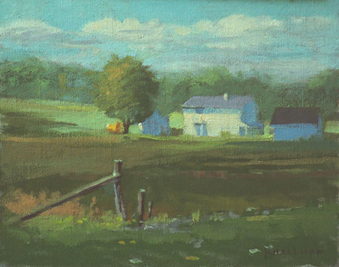 "Thomas Buechner ""White Farm"" 8x10 oil $1,970."