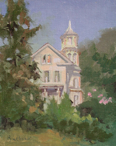 "Thomas S. Buechner ""White Victorian, Old Lyme"" 10x8 unframed oil $1,870."