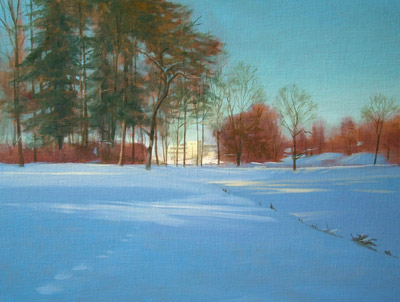 "Thomas S. Buechner ""Winter View of CCC"" 18x24 oil $4,390."