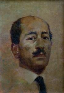 """Thomas S. Buechner """"Anwar Sadat"""" 14x10 oil $2,570."""