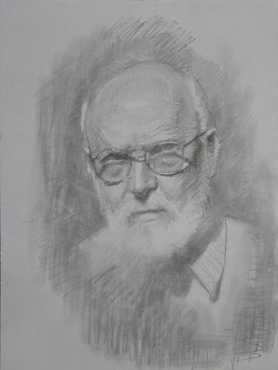 Thomas S. Buechner Self Portrait 20x16 framed charcoal $2,250.