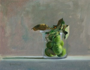 "Thomas S. Buechner ""Apples in Glass"" 11x14 oil $2570."