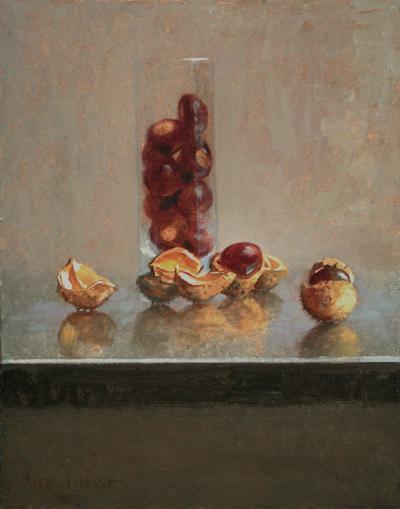 "Thomas S. Buechner ""Chestnuts"" 14x11 unframed oil $2,420."