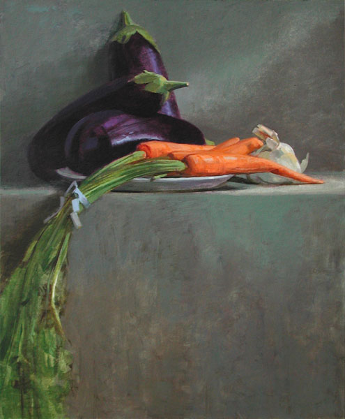 "Thomas S. Buechner ""Eggplants Carrots and Garlic"" 20x16 oil $3,390. framed"