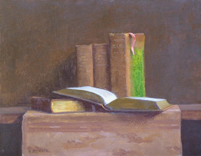 "Thomas S. Buechner ""Little Dictionaries"" 11x14 unframed oil $2,420."