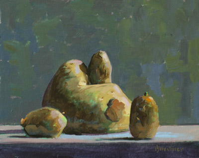 "Thomas S. Buechner ""Maternal Potato"" 8x10 oil $1,970."