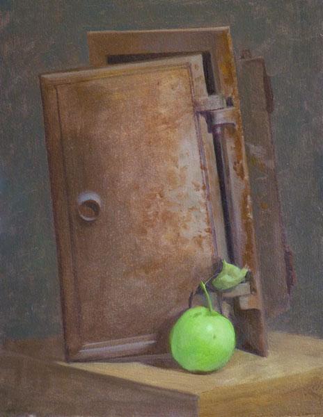 "Thomas S. Buechner ""Old Oven Door"" 14x11 oil $2,570. framed"