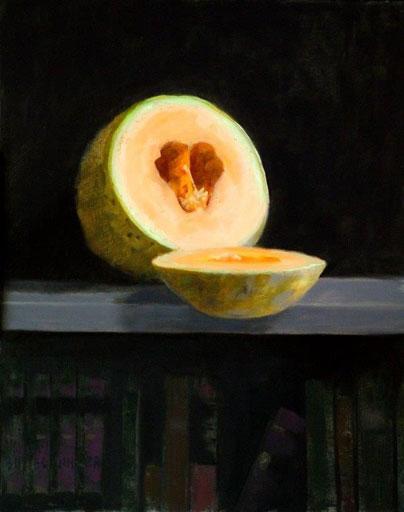 """Thomas S. Buechner """"Sliced Melon"""" 20x16 oil framed $3,300."""