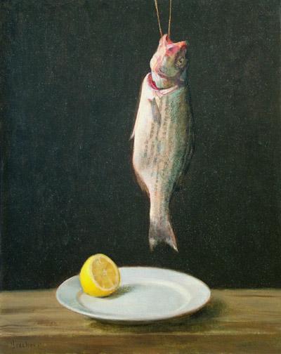 """Thomas S. Buechner """"Striped Bass and Lemon"""" 20x16 unframed oil $3,190."""