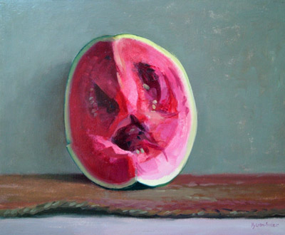 "Thomas S. Buechner ""Watermelon Face"" 11x14 oil $2,570."