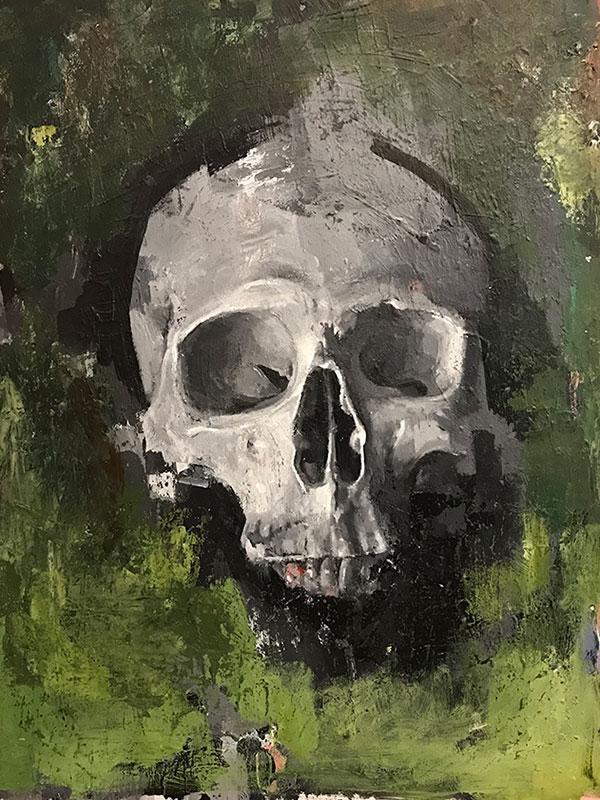 "Chad Cleveland ""Skull Study"" 12x9 acrylic/board $450."