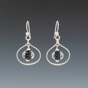 "Becky Congdon ""Black Sparkling Lotus Earrings"" handmade flamework beads with SS components $95. Inquire on availability"