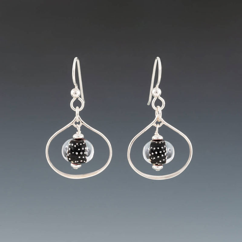 """Becky Congdon """"Black Sparkling Lotus Earrings"""" handmade flameworked glass beads with sterling silver findings $38. Inquire on availability"""