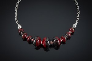 "Becky Congdon ""Fragile Heart Necklace"" 21.5"" handmade flamework glass hollow beads w/ sterling silver beads and chain (photo: Ann Cady) $300. SOLD"