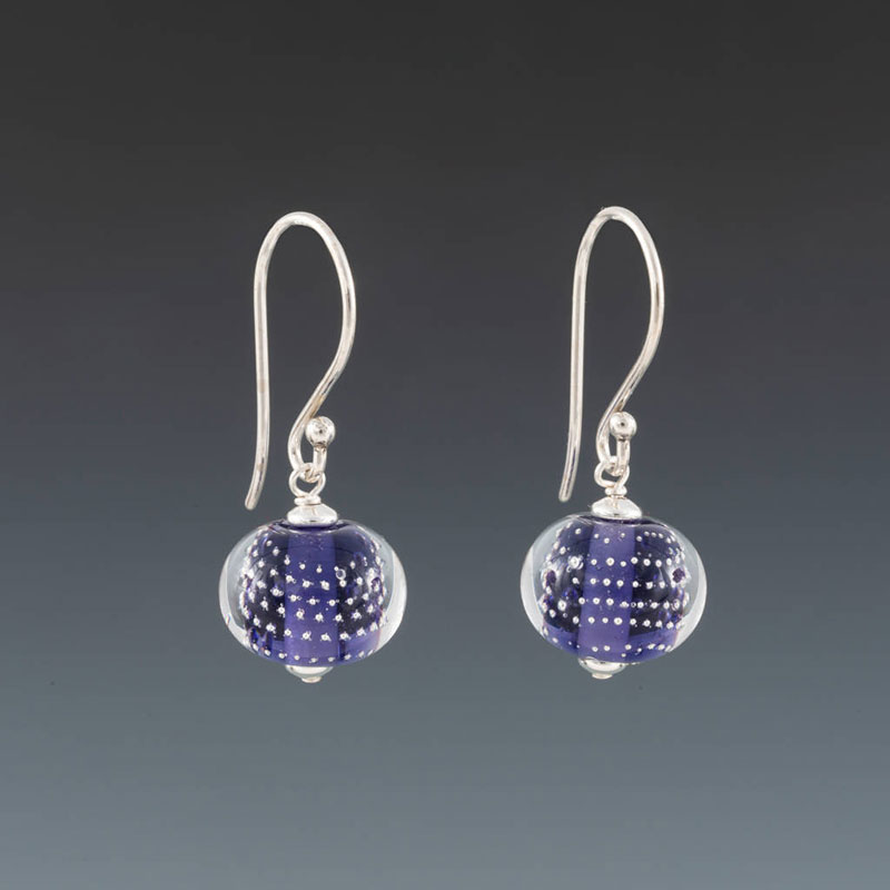 "Becky Congdon ""Ink Blue Sparkling Earrings"" handmade flameworked glass beads with sterling silver findings $38. Inquire on availability"