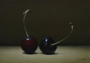 "Trish Coonrod ""2 Cherries"" 5x7 oil on aluminum composite material $725."