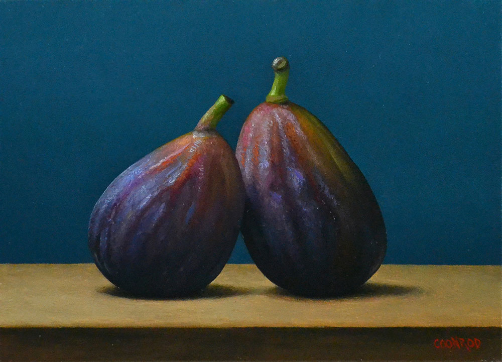 "Trish Coonrod ""2 Figs"" 5x7 oil on aluminum composite material $725."