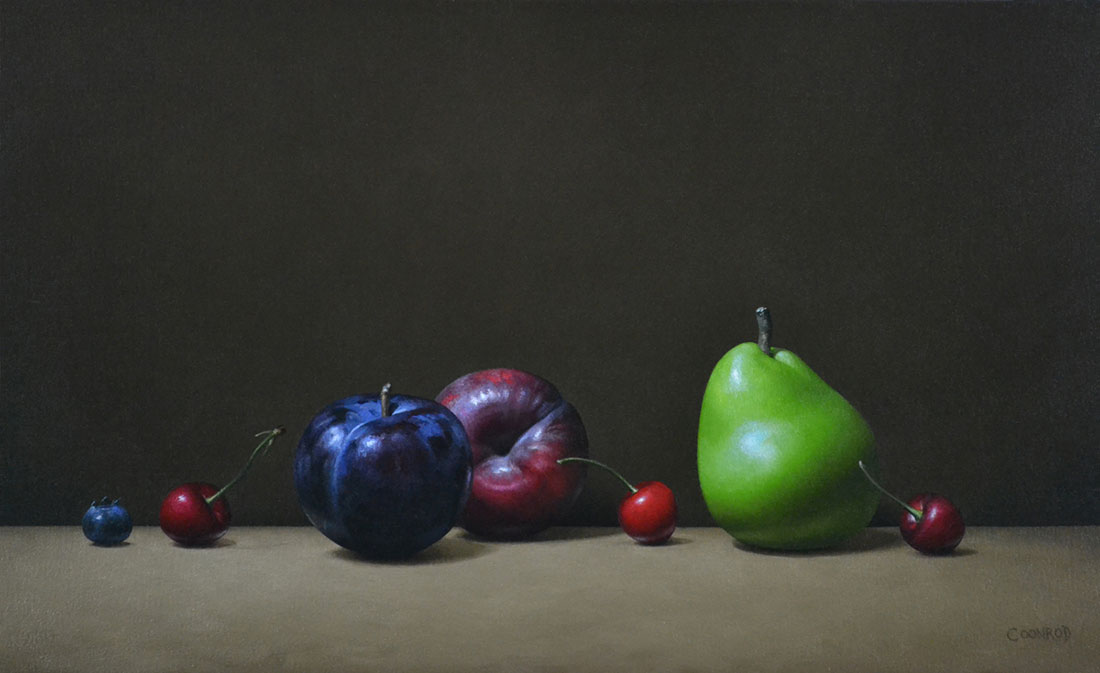 "Trish Coonrod ""2 Plums, Pear, Cherries and a Blueberry"" 14x24 oil on canvas $3,250."