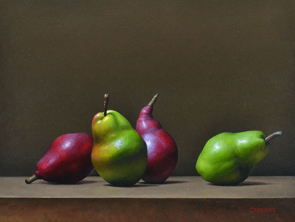 "Trish Coonrod ""2 Red and 2 Green Pears"" 12x16 oil on canvas/birch panel $1,800."