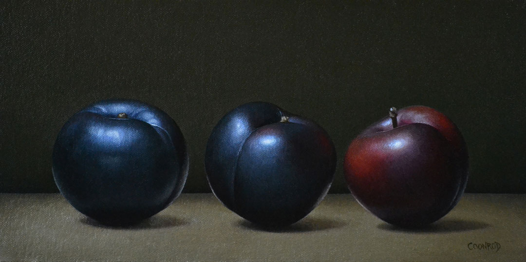 "Trish Coonrod ""3 Plums"" 6x12 oil on canvas/birch panel $1,125."