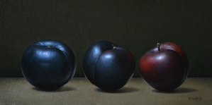 """Trish Coonrod """"3 Plums"""" 6x12 oil on canvas/birch panel $1,125."""