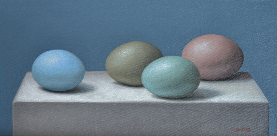 "Trish Coonrod ""4 Eggs on White Box"" 6x12 oil $695."