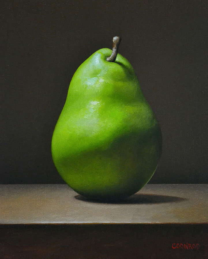 "Trish Coonrod ""Anjou Pear"" 10x8 oil on canvas/birch panel $1,125."