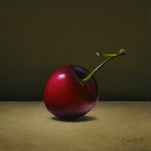 "Trish Coonrod ""Cherry"" 4x4 oil/wood panel $350."