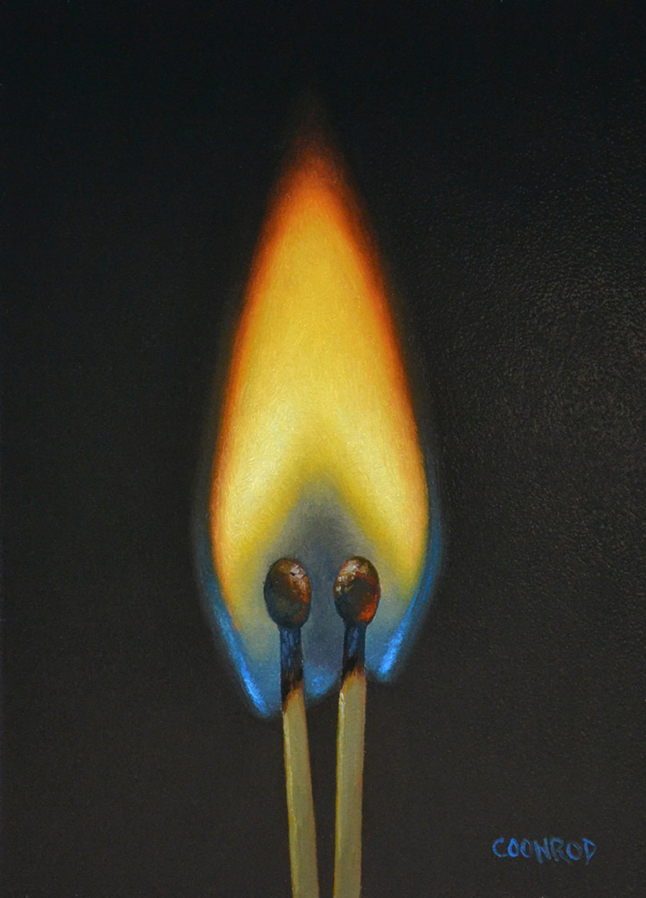 "Trish Coonrod ""Pair of Matches"" 7x5 oil on aluminum composite material $725. SOLD"