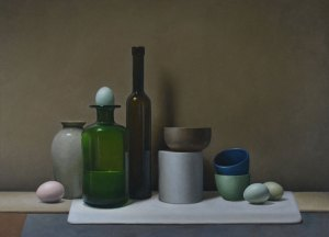 "Trish Coonrod ""Still Life with Bottles and Eggs"" 26x34 oil/c $5,200."